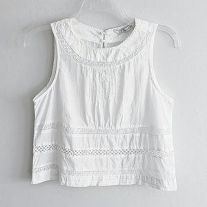 Zara White Lace Trim Pleated Sleeveless Boho Top